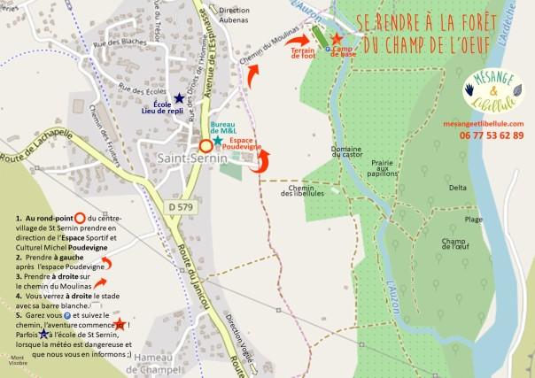 plan d'accès à la forêt du Champ de l'Oeuf-Mésange&Libellule 07 2019