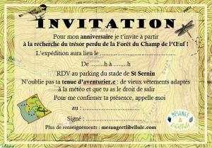 invitation trésor