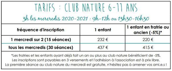 tarif club nature 2020-21