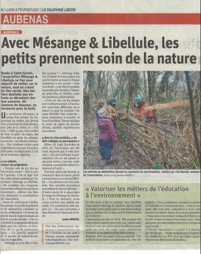 Article Dauphiné 08-02-2021 Mesange & Libellule 1